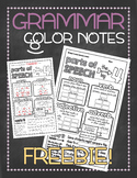 Grammar doodle notes FREEBIE: Parts of speech