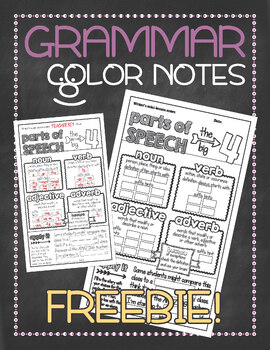 Grammar doodle notes FREEBIE: Parts of speech