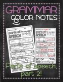 Grammar doodle notes: Parts of speech, part 2