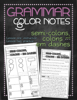 Grammar doodle notes: Semi-colons, colons and dashes
