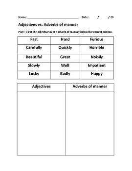 Grammar for beginners: Adjectives and adverbs of manner worksheet