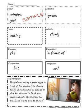 Grammar in Images!  Differentiated Worksheet, Vocabulary Activities, GROWING