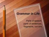 Grammar in Life – Parts of Speech and Sentences, Fragments, Run-ons