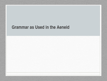 Grammar in the Aeneid