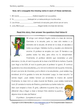 Grammar notes: -AR Imperfect conjugations with reading and activities