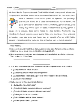 Spanish infinitives notes with reading and activity