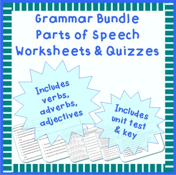 Grammar parts of speech worksheets or quizzes
