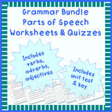 Grammar parts of speech worksheets or quizzes