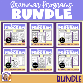 Grammar programs & homework bundle for speech and language therapy
