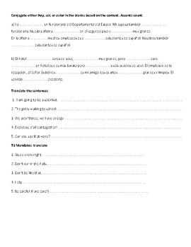 Grammar quiz/tarea review (Spanish 1 or Ab Initio)