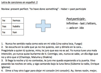 Spanish review through song lyrics with focus on present perfect +commands, etc.
