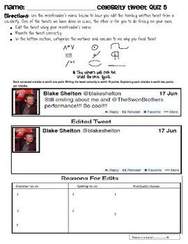 Grammar using Twitter-- Celebrity Tweet #5 (editing)