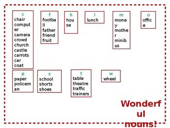Grammar word mats