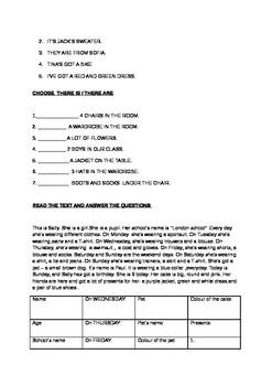 Grammar worksheet for children and teachers