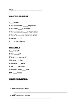 Grammar worksheet for children and teachers