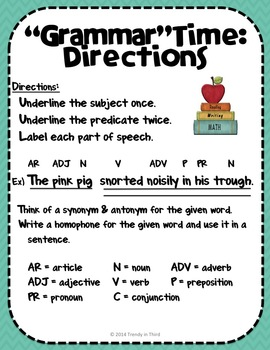 """""""Grammar""""Time: Daily Review of CCSS Language Skills"""