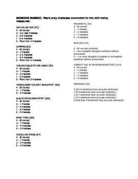 Middle School Grammar/Usage Diagnostic Preassessment