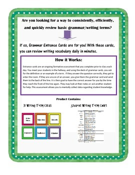 Grammar/Writing Terms: Daily Entrance Formative Assessment