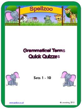 Grammatical Terms Quick Quizzes