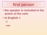 Italian Subject Pronouns, Grammatical Terms and ARE Verbs
