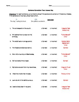 Grammaticality Judgement and Sentence Correction