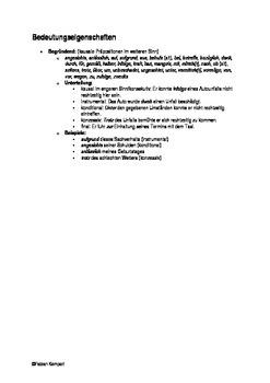 Grammatische Eigenschaften von Präpositionen - Übersicht