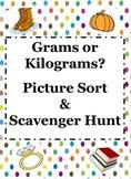 Grams & Kilograms Picture Sort & Scavenger Hunt