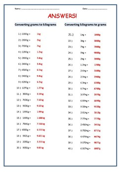 Grams and Kilograms Conversions Worksheet