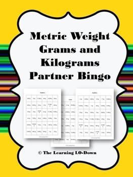 Grams and Kilograms: Metric Mass Partner Bingo Game
