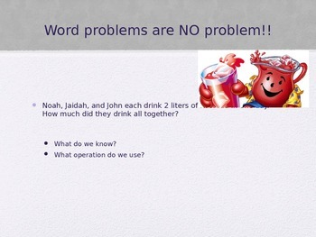 Grams, kilograms, liters Word Problems 3.MD.2