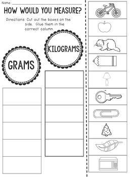 Grams or Kilograms?  Cut and Paste Sorting Activity