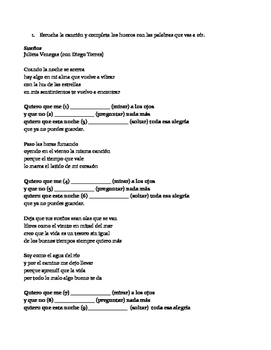Gramática a través de la canción:Subjuntivo/cancion /Spanish song