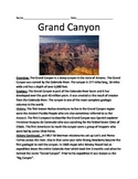 Grand Canyon - Lesson Information Article Facts Questions Vocabulary