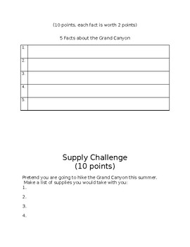 Grand Canyon Mini Research Project and Rubric