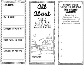 Grand Canyon Research Project Brochure Template, Geography, History