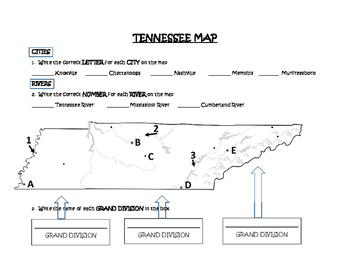 Grand Divisions of Tennessee Map (Includes Cities & Rivers) | TpT