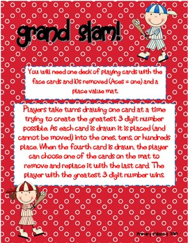 Grand Slam Place Value Card Game