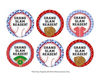 Grand Slam Reader Baseball Circle Tags