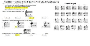 Grand Staff Music 40 Multiple Choice and 30 Fill in the Blank