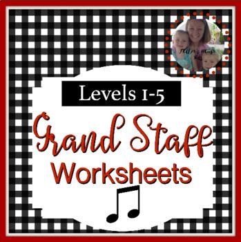 Note Name Worksheets Level 1-5 Bundle