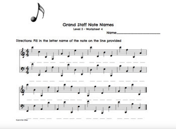 Note Name Worksheets Level 1-5 Bundle by Music Teacher Mumma | TpT