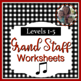 Note Name Worksheets Level 1-5 Bundle