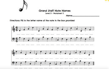 Note Name Worksheets Level 3