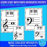Grand Staff with Piano Keyboard Posters