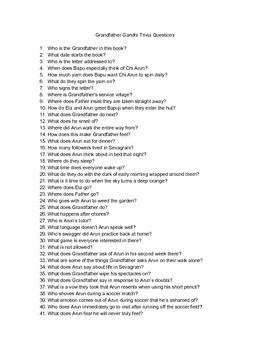 Grandfather Gandhi Trivia Questions