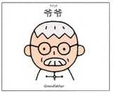 Grandfather english chinese flash card