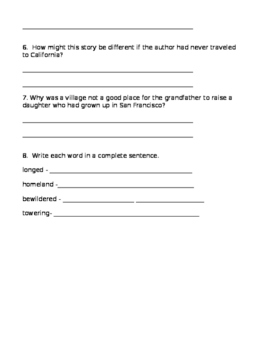 Grandfather's Journey Reading Street Comprehension Questions