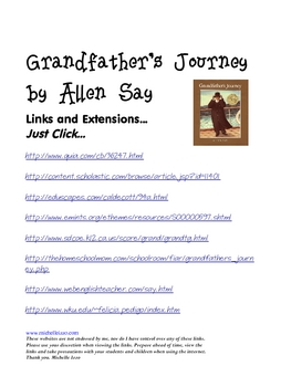 Grandfather's Journey Extension Links Reading Street Grade 4