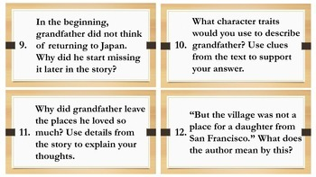 Grandfather's Journey Story Task Cards