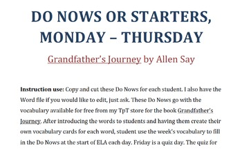 Grandfather's Journey by Allen Say, Vocabulary Do Nows for 4 days